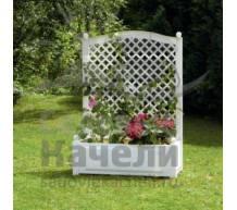 Большой ящик для растений с шпалерой белый