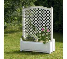 Большой ящик для растений с центральной шпалерой белый