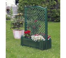 Большой ящик для растений с центральной шпалерой зеленый