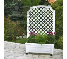 Ящик для растений с шпалерой на колёсах Калипсо белый