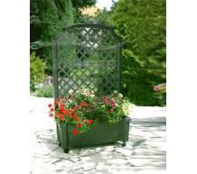 Ящик для растений с шпалерой на колёсах Калипсо зеленый