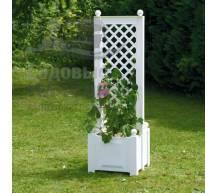 Маленький ящик для растений с центральной шпалерой белый