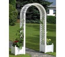 Садовая арка с ящиками для растений белая
