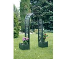 Садовая арка с ящиками для растений зеленая