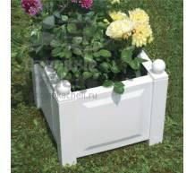 Квадратный ящик для растений белый