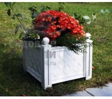 Квадратный ящик для растения к изгороди Модуляр белый