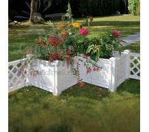 Угловой ящик для растений к изгороди Модуляр белый